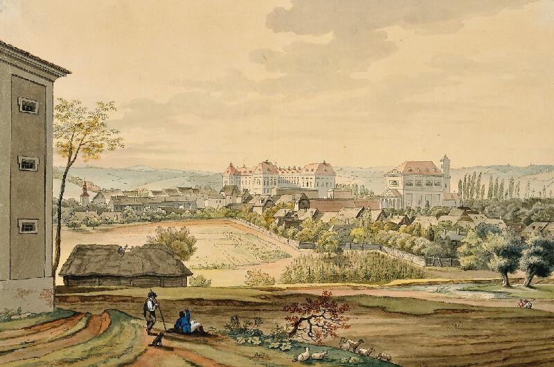 František (Franz) Richter - Slavkov - pohled na zámek a kostel