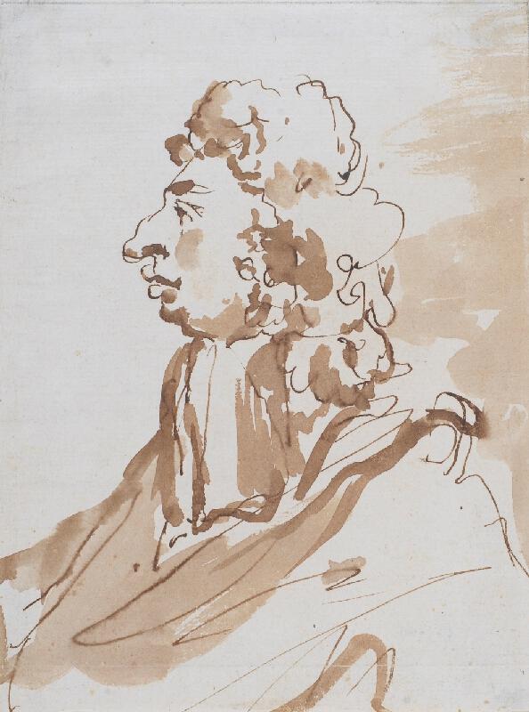 neznámý malíř benátský - Karikatura mužské tváře z profilu