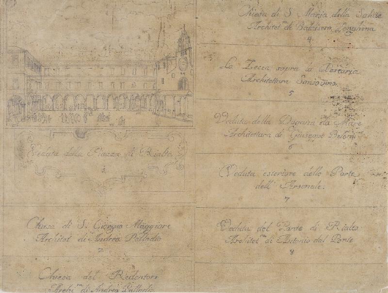 Giovanni Antonio Canal zv.Canaletto - následovník - Titulní list skicáku benátských vedut