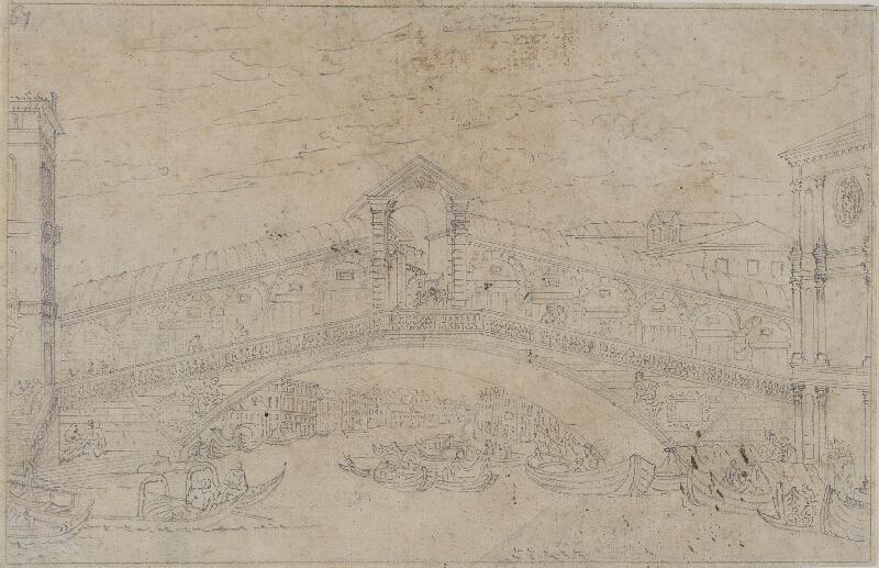 Giovanni Antonio Canal zv.Canaletto - následovník - Veduta del Ponte di Rialto