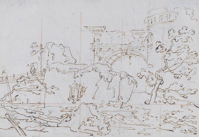 Giovanni Antonio Canal zv. Canaletto - Capriccio: ruiny u laguny