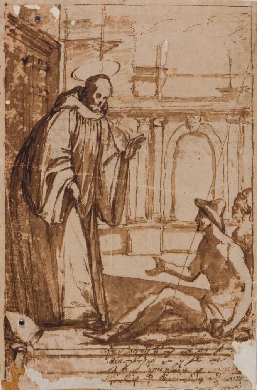 neznámý malíř italský - Sv. Bernard žehná žebrákům