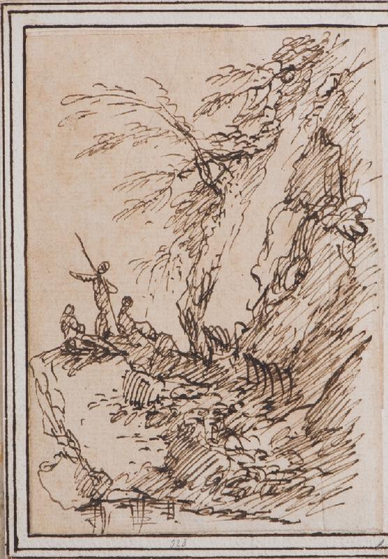 Salvator Rosa - Krajinný úsek s figurální stafáží