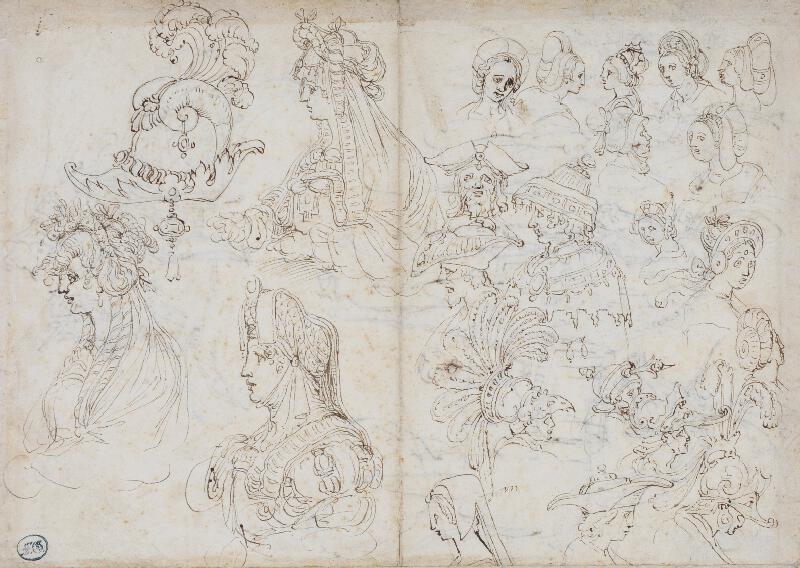 Perino del Vaga - Studie pokrývek hlavy a účesů