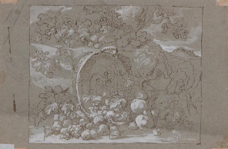 Johann Carl Loth zv. Carlotto - Venuše, Vulkán a Amor, verso: Zátiší s ovocem