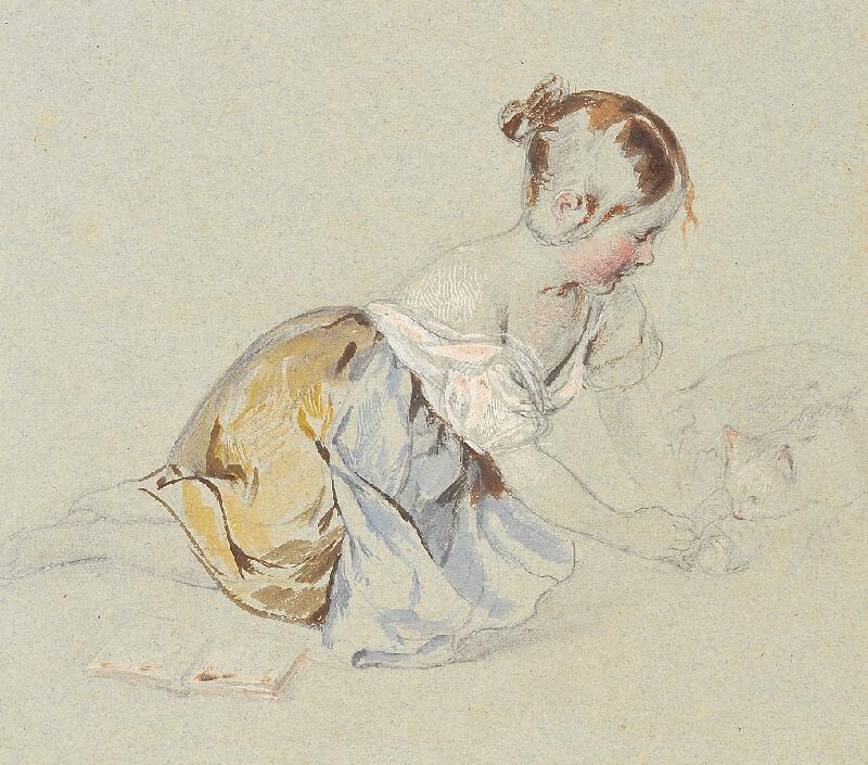 Johann Matthias Ranftl - Děvčátko s kočkou