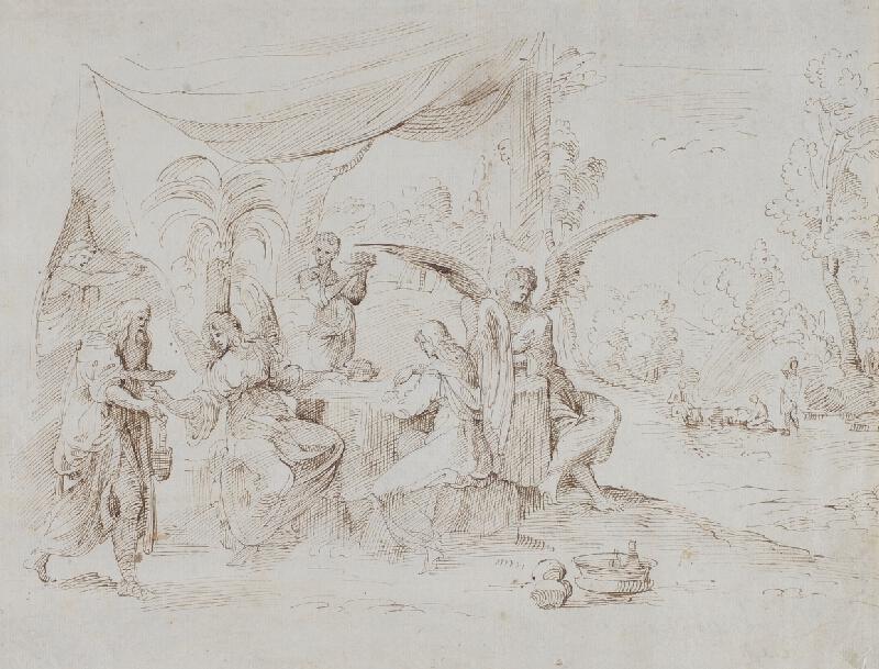 Lodovico Carracci - podle - Abrahám hostí anděly