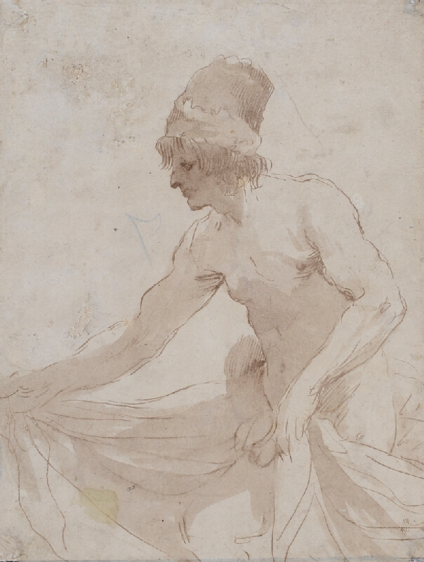 Giov. Franc. Barbieri zv. Guercino - následovník - Figura muže s pokrývkou hlavy