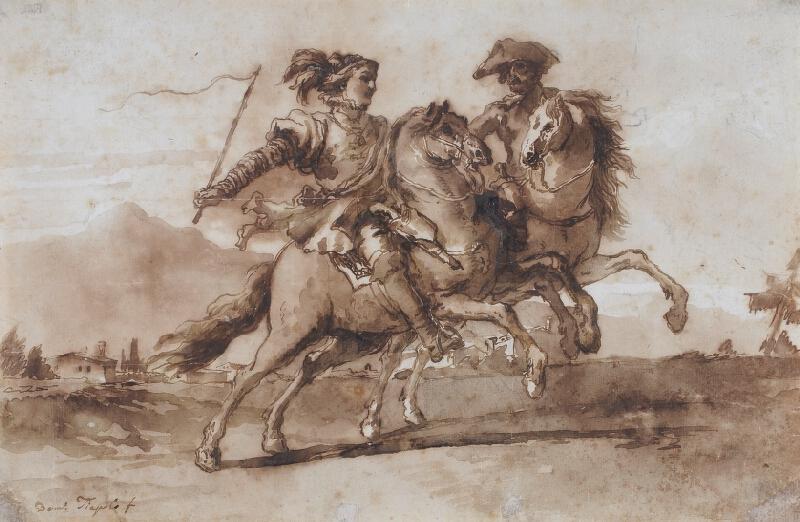 Giovanni Domenico Tiepolo - Dva jezdci v krajině