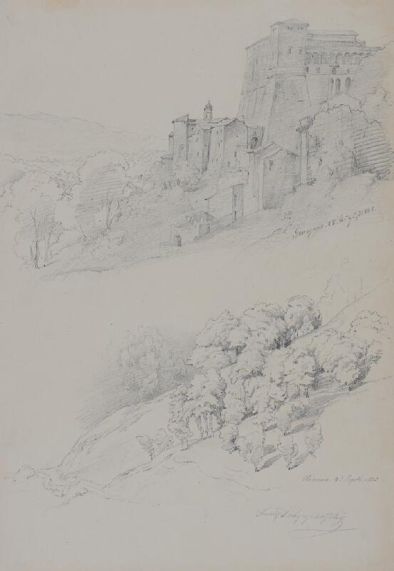 Franz Josef Dobyaschofsky - Dvě krajinářské skicy; Italská krajina