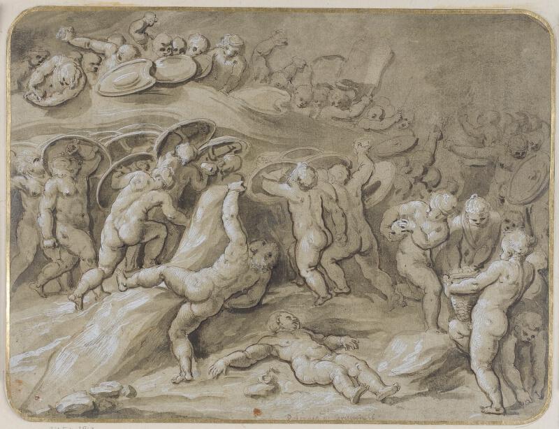Polidoro da Caravaggio - okruh - Bitva puttiů
