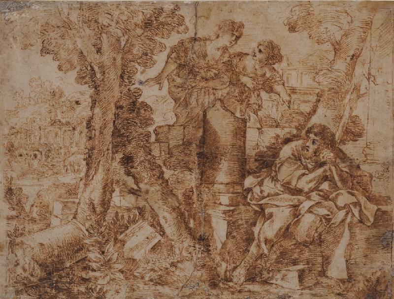 Giovanni Francesco Romanelli (?) - Muž a dvě ženy