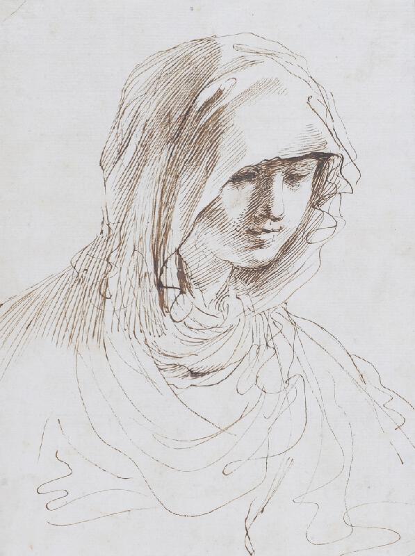 Giov. Franc. Barbieri zv. Guercino - následovník - Hlava Panny Marie