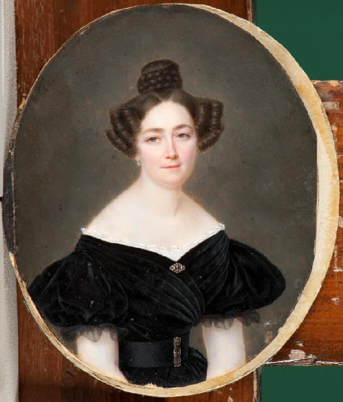 neznámý miniaturista - Podobizna ženy v černých šatech