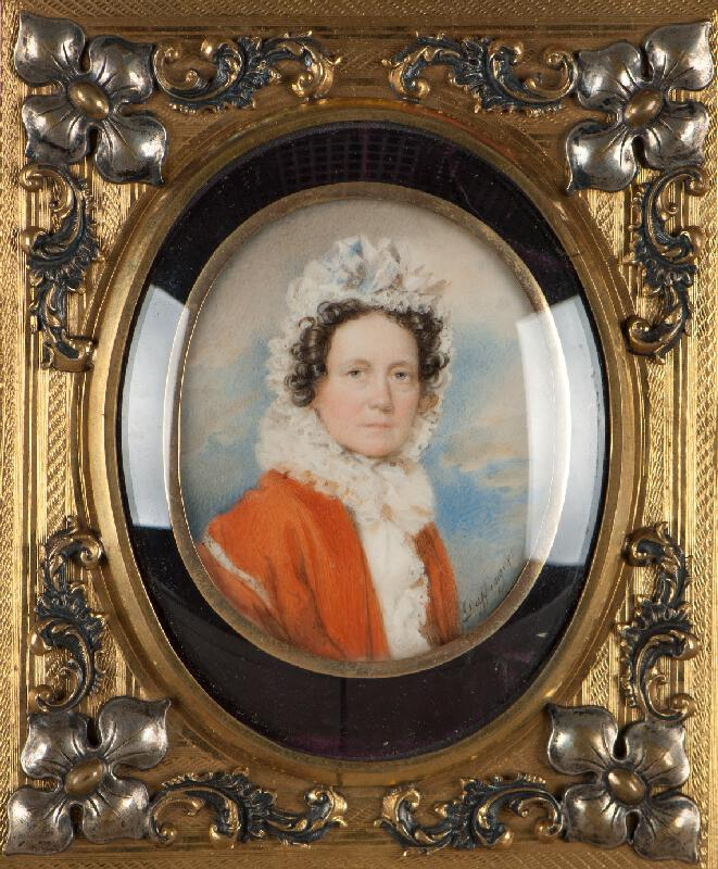 Moritz Michael Daffinger - Podobizna ženy v červeném šatě
