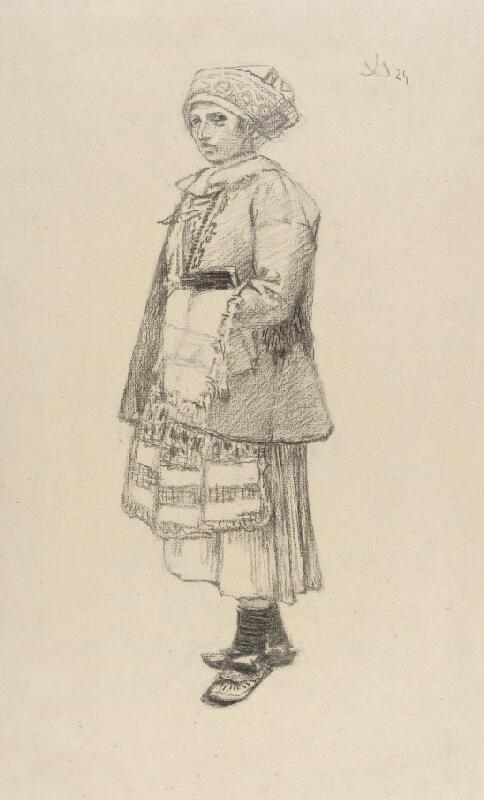 Joža Uprka - Stojící žena - Vesničanka v kožuchu