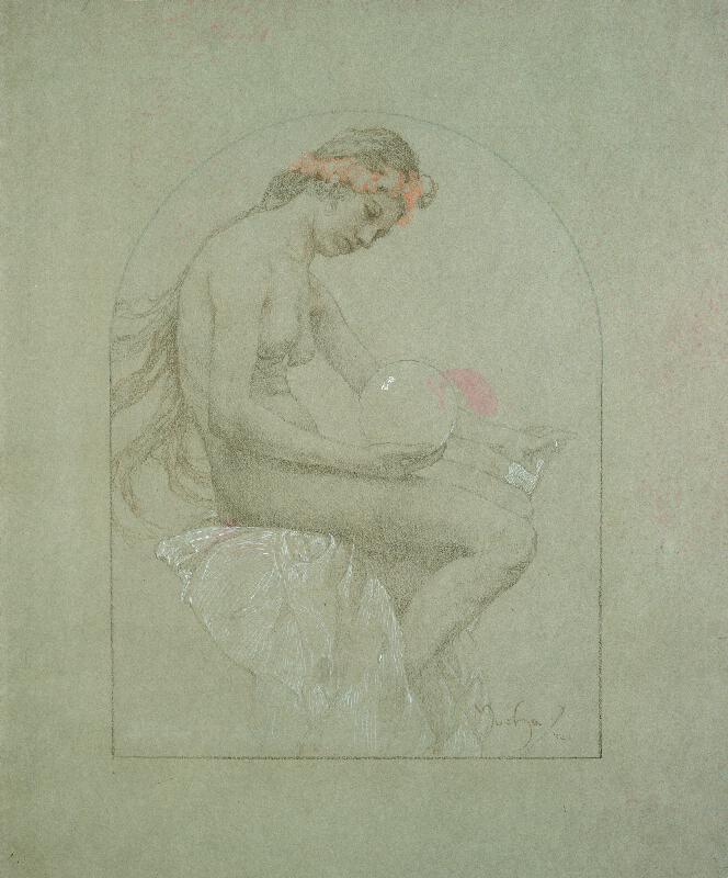 Alfons Mucha - Dívka s koulí