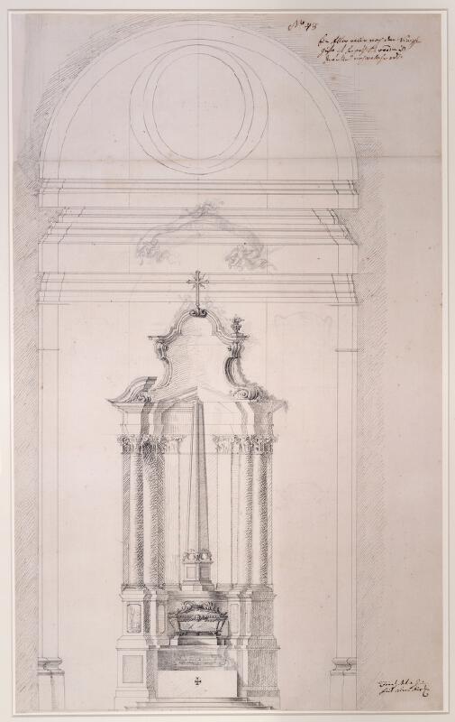 Franz Anton Grimm - Nákres bočního oltáře, Melk