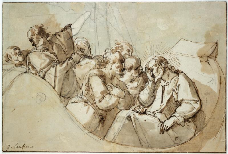 Raffaellino Motta zv. Raffaellino da Reggio - Spící Kristus v bárce za bouře