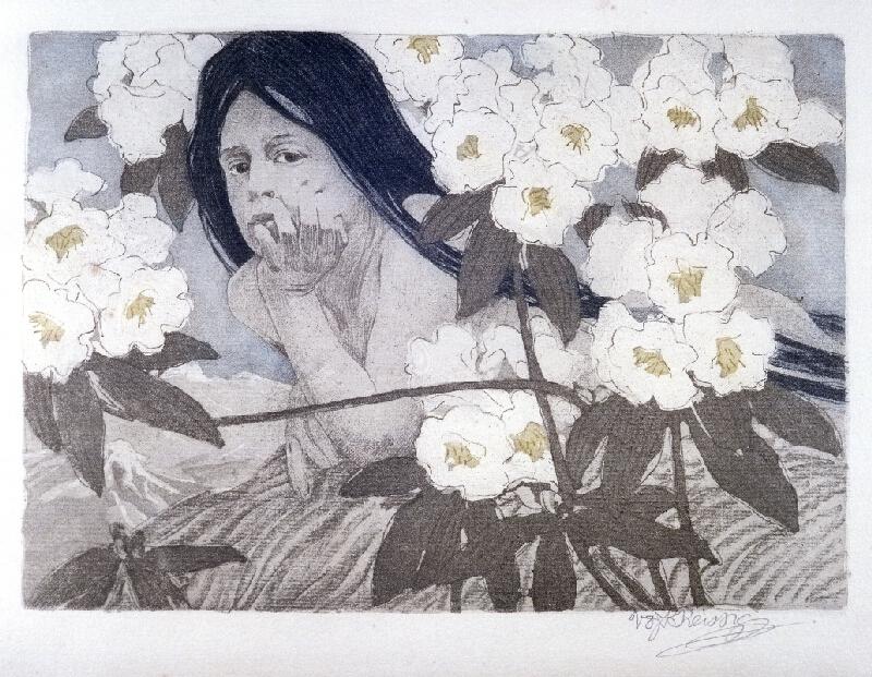 Vojtěch Preissig - Dívka v rhododendronech