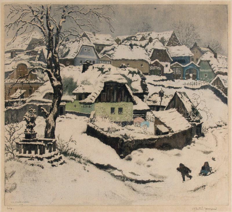 Jaromír Stretti-Zamponi - Vesnice v zimě