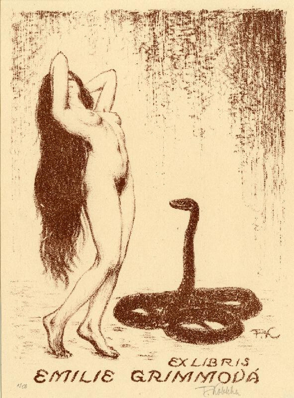 František Kobliha - Exlibris Emilie Grimmová