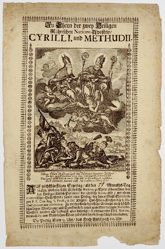 Franz Ambros Dietel - Oznámení  slavnostní  mše  a  kázání  na  počest  moravských  národních  apoštolů  Cyrila  a  Metoděje