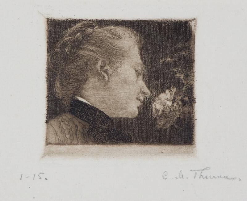 Carl Maria Thuma - Umělcova žena s růží (Podobizna mladé ženy)