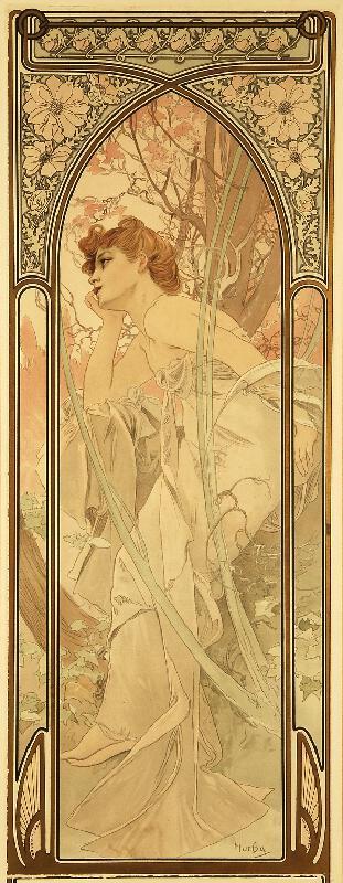 Alfons Mucha - Podvečer z cyklu Denní doby (Reverie du Soir)