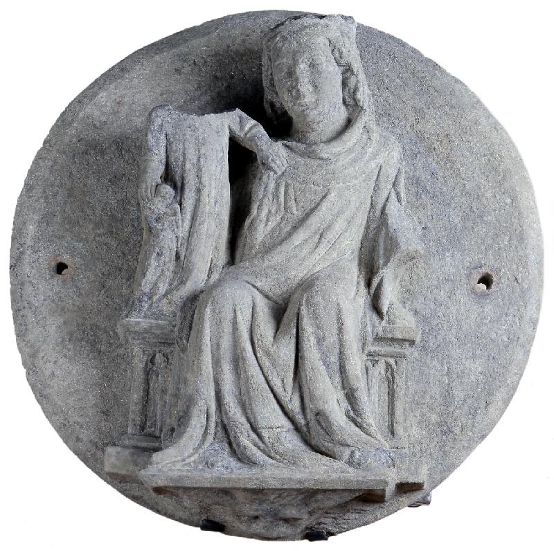 neznámý sochař moravský - Klenební svorník z Dolních Kounic - Trůnící Madona