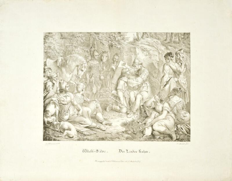 Josef Führich - Wlasti-Sláwa (Libuše a Vlasta, scéna z dívčí války)