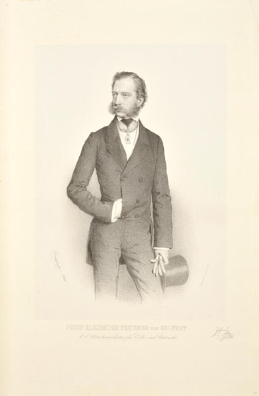 August Prinzhofer - Jos. Al. Helfert (Podobizna kk podsekretáře pro kult. a vyučování Josefa Alexandra sv.p. Helferta