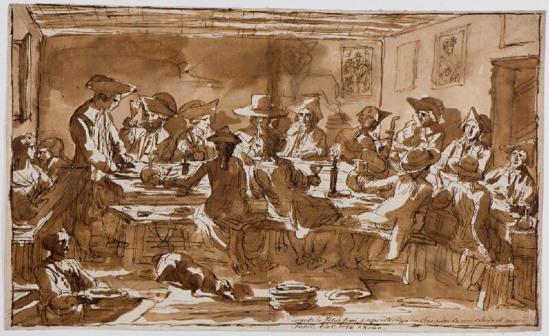 Felice Giani - Malíři při společné večeři v hospodě