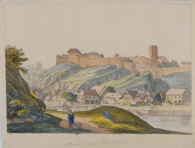 František (Franz) Richter - Znojmo-pohled na hrad a podhradí
