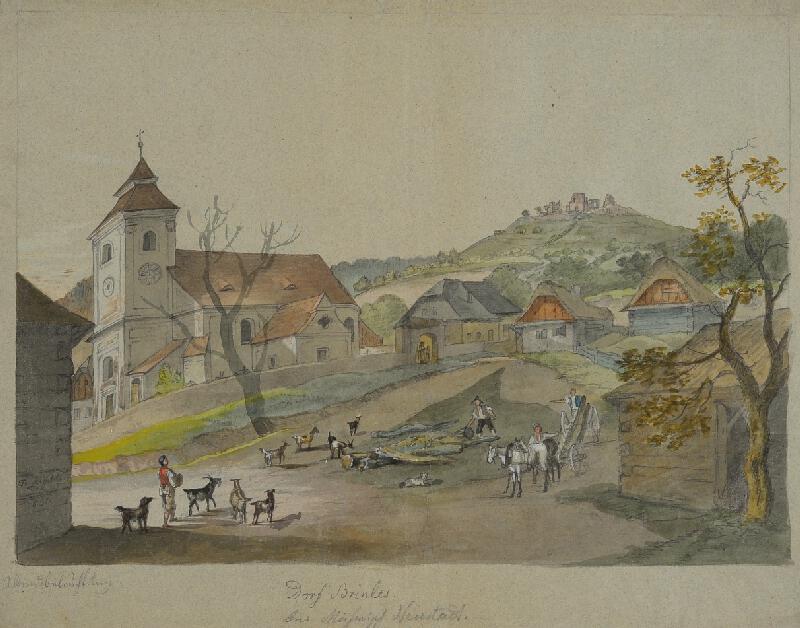 František (Franz) Richter - Pohled na kostel a zříceninu Brníčko.
