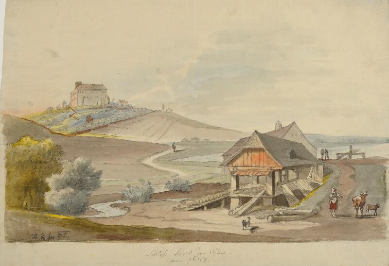 František (Franz) Richter - Sádek-pohled na zámek od východu