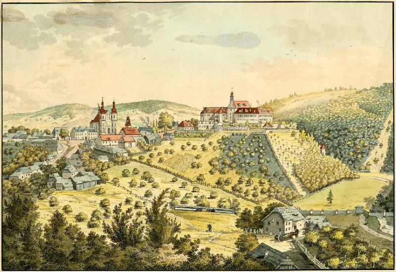František (Franz) Richter - Pohled na zámek a kostel v Lomnici.