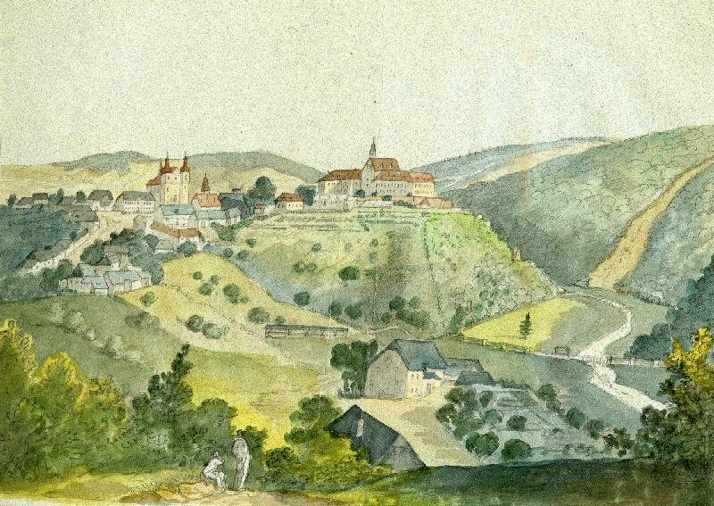 František (Franz) Richter - Pohled na zámek a kostel v Lomnici