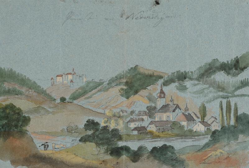 František (Franz) Richter - Pohled na Nedvědice ( a Pernštejn)