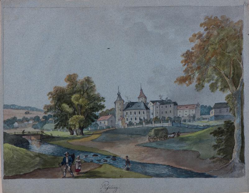 František (Franz) Richter - Písečné-pohled na zámek
