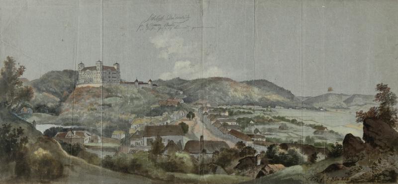 František (Franz) Richter - Pohled na obec Račice se zámkem.