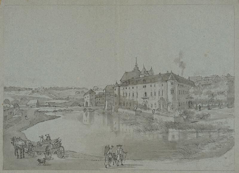 František (Franz) Richter - Pohled na zámek v Bystřici (?)