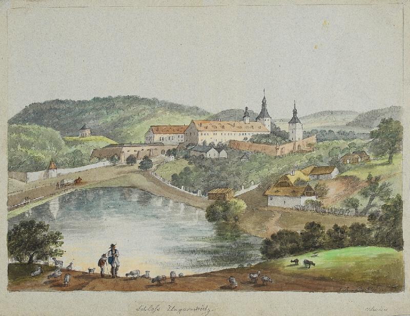 František (Franz) Richter - Uherčice-pohled na zámek