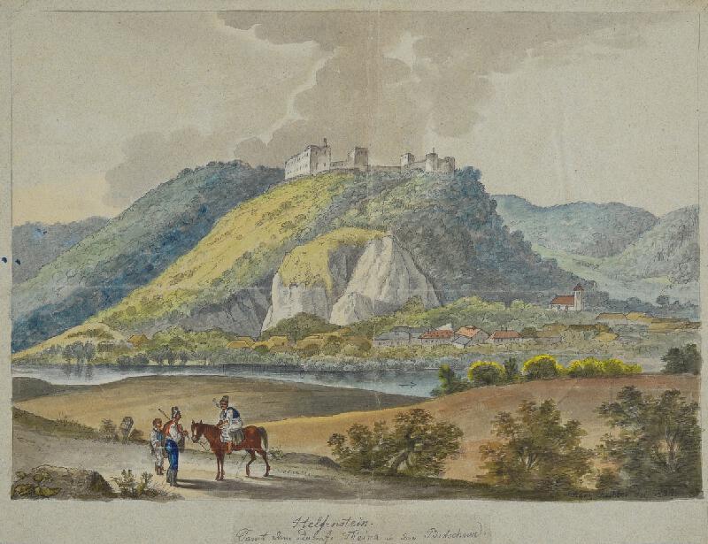 František (Franz) Richter - Pohled na hrad Helfenštejn