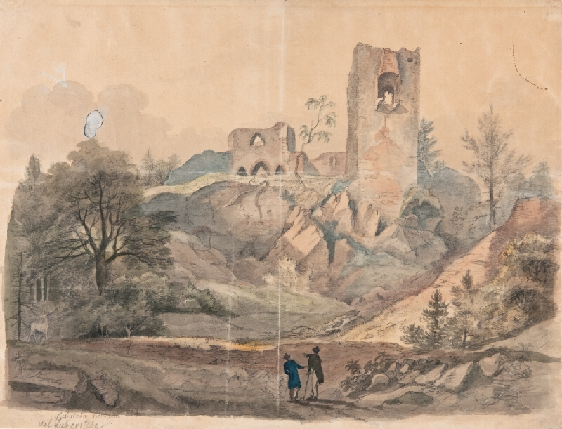 František (Franz) Richter - Pohled na zříceniny Zubštejna