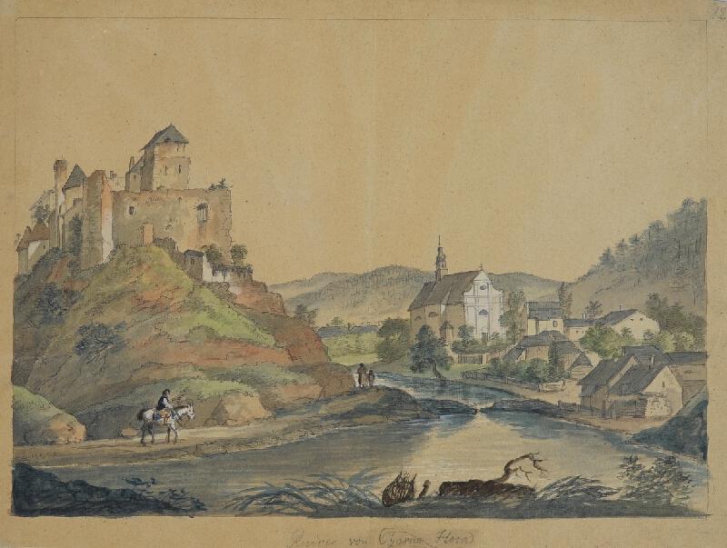 František (Franz) Richter - Pohled na zříceninu v Černé Hoře.