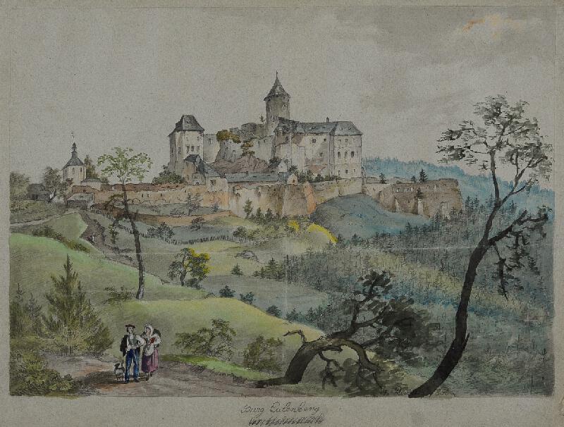 František (Franz) Richter - Sovinec - pohled na hrad