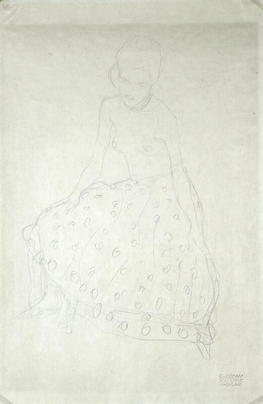 Gustav Klimt - Sedící dívka