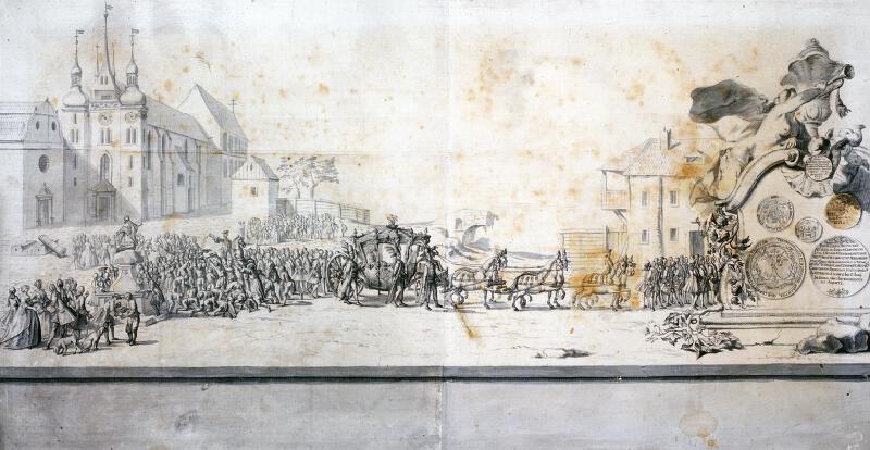 neznámý malíř barokní - Uvedení  arcibiskupa Troyera v úřad
