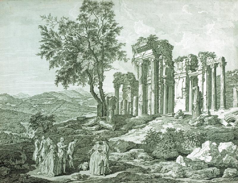 Jacob Matthias Schmutzer - Společnost u zříceniny antického chrámu